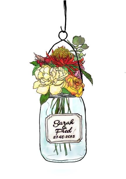 Faire part floral, pour un mariage bohème